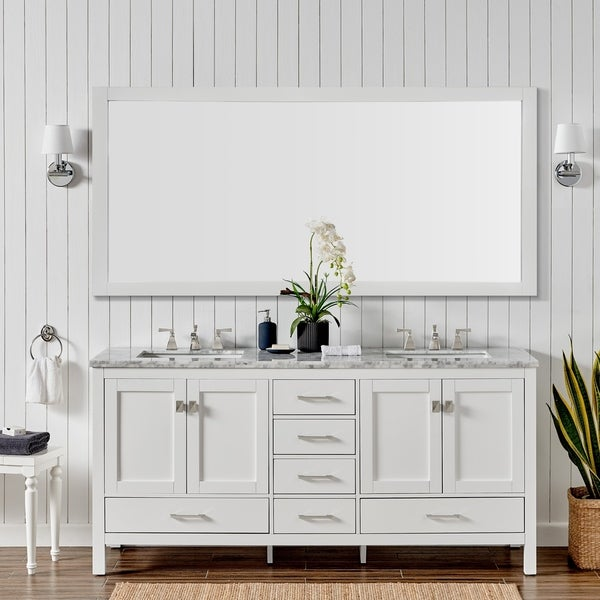 White Transitional Double Sink Bathroom