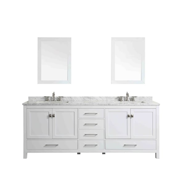 Shop Eviva Aberdeen 84 White Bathroom Vanity Free Shipping Today 18694597