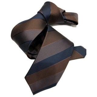 Dmitry Men's Brown/Navy Striped Italian Silk Tie