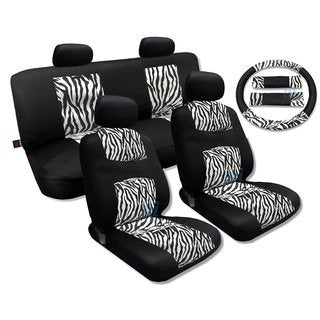 White Zebra Accent Fur Black Cool Breeze Seat Cover Set- Honda Civic