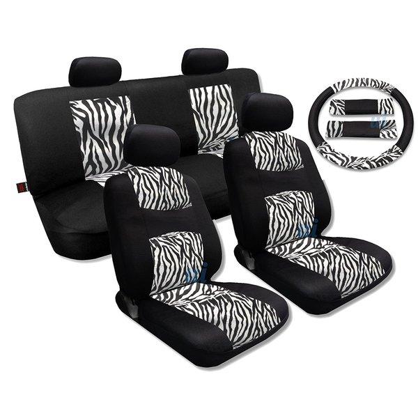 White Zebra Accent Fur Black Cool Breeze Seat Cover Set Fits Kia Soul