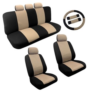 Tan/Black Two Tone Car Seat Covers Steering Wheel Set 14pc - Kia Forte