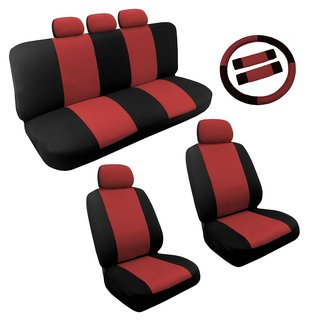 Red/Black Two Tone Car Seat Covers Steering Set 14pc For Chevy Cobalt
