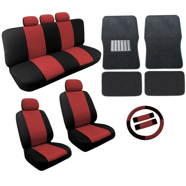 Red/Black Two Tone Car Seat Covers Black Mats Set 18pc For Mazda 6