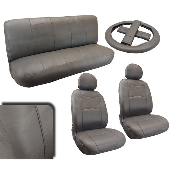 Leatherette Gray Padded Car Seat Covers Full Set Synth Leather Saturn