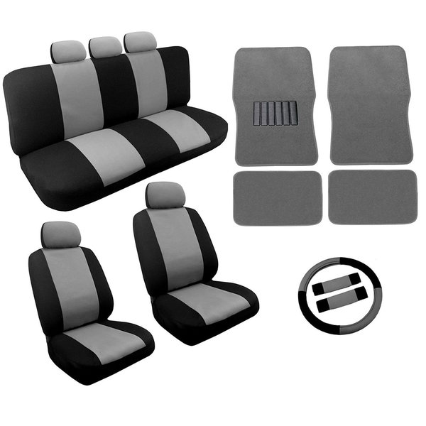 Shop Gray Black Two Tone Car Seat Covers Floor Mat Set 18pc Subaru