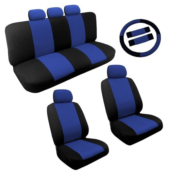 Blue Black Two Tone Car Seat Covers Steering Set 14pc Toyota Camry
