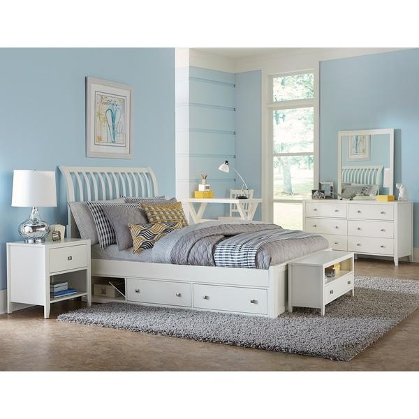 Stylish Soft White King Storage Sleigh Bed Bedroom