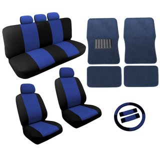 Blue/Black Two Tone Car Seat Covers Floor Mats Set 18pc- Nissan Sentra