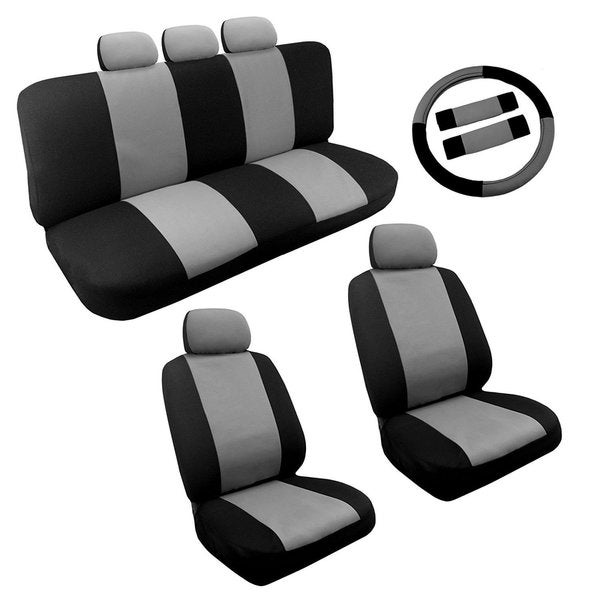 Black Amp Gray Two Tone Car Seat Cover Set 14pc Steering Toyota Camry