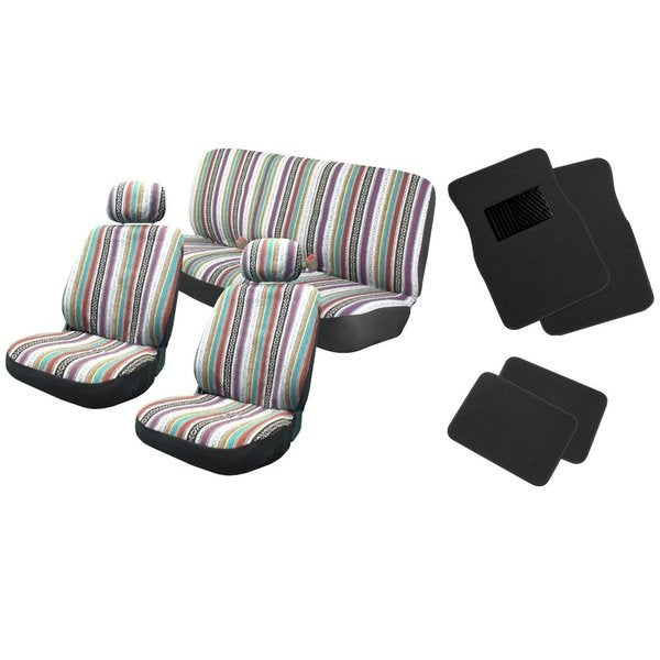 12pc Saddle Blanket Seat Covers W/Black Floor Mats Bench  Jeep Liberty