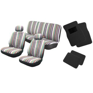 12pc Saddle Blanket Seat Covers w/Black Floor Mats Bench- Jeep Liberty