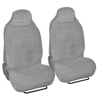 Full Bucket Fine Velvet Seat Covers - Rich Gray Velour Front Pair