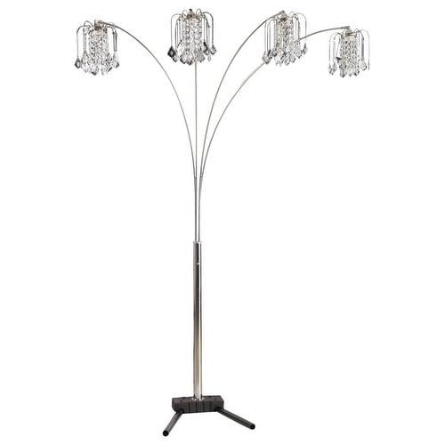 Shop Q Max Silver Modern Arms Arch Faux Crystal Floor Lamp 84 H