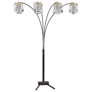 Q-Max Black Modern Arms Arch Faux-Crystal Floor Lamp