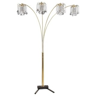 Q-Max Gold Metal and Faux Crystal 84-inch 4-light Floor Lamp