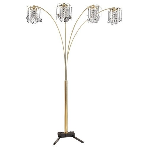 """Q-Max Gold Modern Arms Arch Faux Crystal Floor Lamp 84"""" H"""