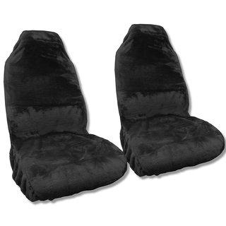 Synth Sheepskin Seat Cover Pair BLACK PLUSH Fleece Universal Mid-Sized