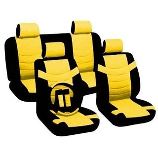 Leather Black & Yellow Seat Covers Headrests Steering For Chevy Cobalt