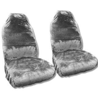 Synth Sheepskin Seat Cover Pair GRAY PLUSH Fleece Nissan Altima
