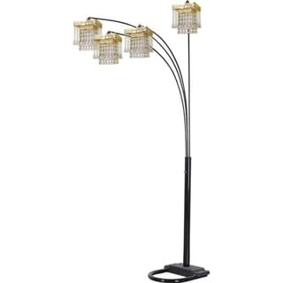 Q-Max 4 Arm Arch Floor Lamp Gold Shade with Black finish