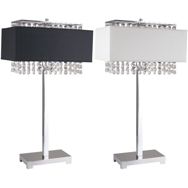 "Q-Max 27.5""H Chrome Table Lamp with Linen and Faux Crystal Shades"