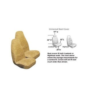 2 Front Synthetic Sheep Skin Seat Cover - Natural