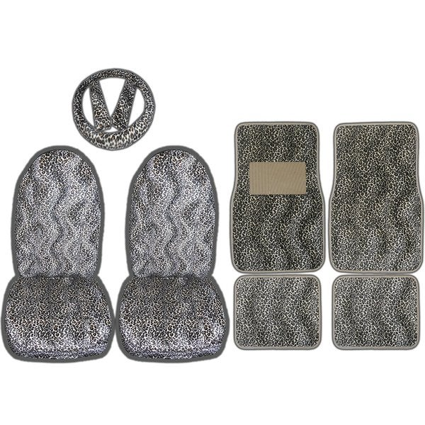 9pc Safari Tan Cheetah Print Car Floor Mats Seat Covers Steering Cover