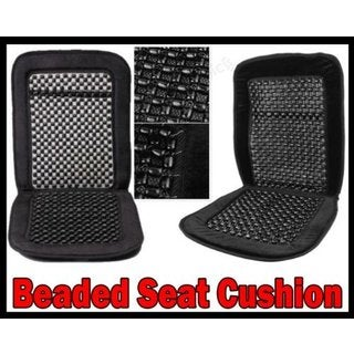 2x Pair Wood Bead Seat Cover Massage Cool Black Cushion Reduce Fatigue