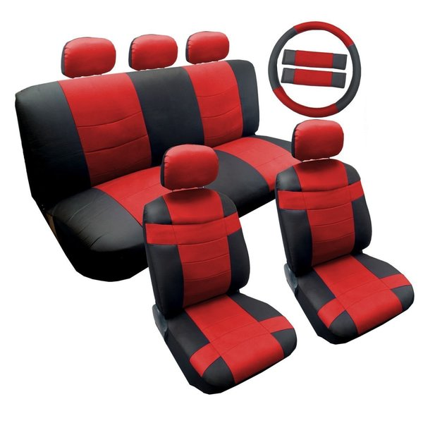 Shop Two Tone Black Red Synthetic Leather Seat Cover Set 14pc Toyota