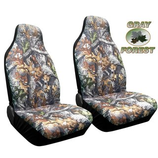 Forest Gray Camo High Back Seat Cover Pair for Pickups Surreal