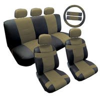 Two Tone Black & Tan Premium Synthetic PU Faux Leather Seat Cover 14pc