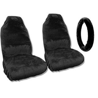 Sheepskin Seat Covers Pair Steering Cover Black Fleece Pickup Trucks