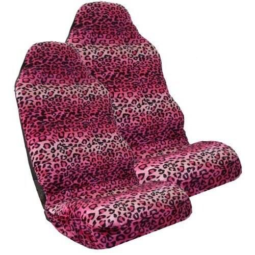 Safari PINK Leopard Print Car High Back Seat Covers One Pair