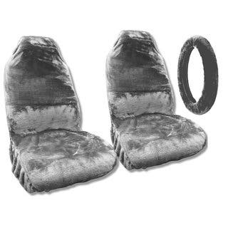 Sheepskin Seat Covers Pair Steering Cover Grey Fleece Fits