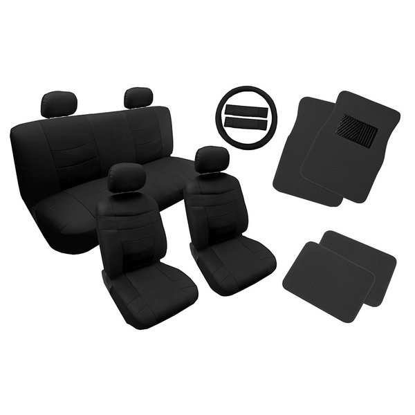 Leather Seat Cover Set Black W 4pc Floor Mats 14pc