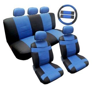 Two Tone Black & Blue Faux Leather Seat Cover Set 14pc Kia Optima