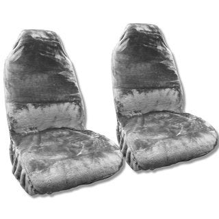 Gray Sheepskin Seat Cover Pair Soft Plush Wool Bucket Seat Covers