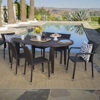 Evan Outdoor 7-piece Oval Wicker Dining Set by Christopher Knight Home
