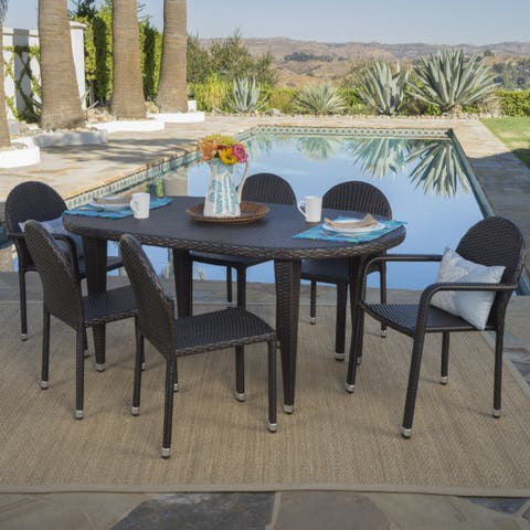 Asher Outdoor 7-piece Oval Wicker Aluminum Dining Set by Christopher Knight Home