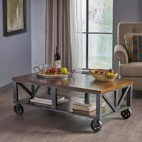 Dree Industrial Rectangle Wood Coffee Table by Christopher Knight Home