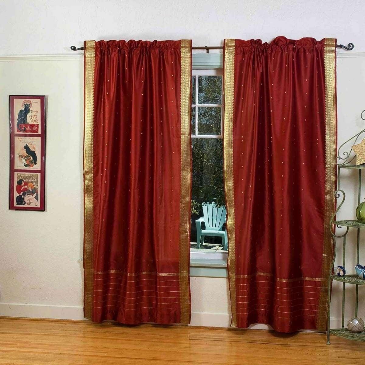 Piece Panel Forest Green Rod Pocket  Sheer Sari Curtain Drape