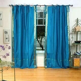 Turquoise Tie Top Sheer Sari Curtain / Drape / Panel - Piece