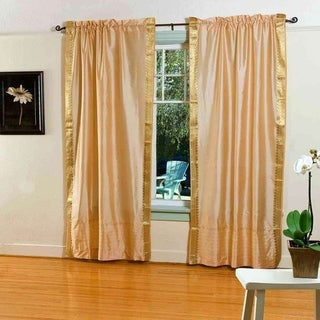 Gold Rod Pocket Sheer Sari Curtain / Drape / Panel - Piece