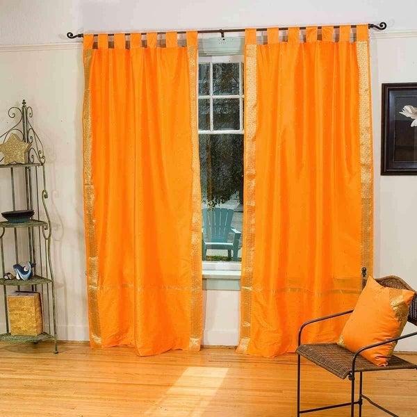 Pumpkin Tab Top Sheer Sari Curtain / Drape / Panel - Piece