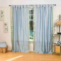 Gray  Tab Top  Sheer Sari Curtain / Drape / Panel  - Piece