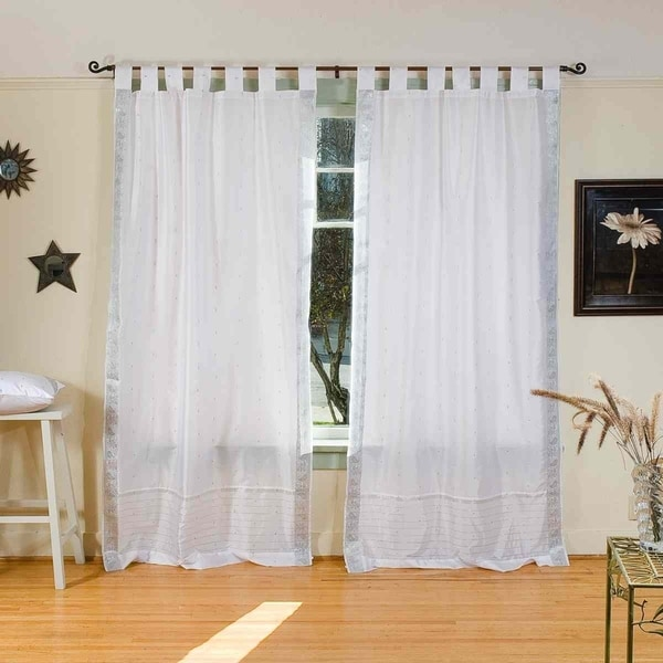 White Silver Tab Top Sheer Sari Curtain / Drape / Panel - Piece