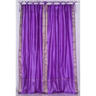 Lavender Tie Top Sheer Sari Curtain / Drape / Panel - Piece