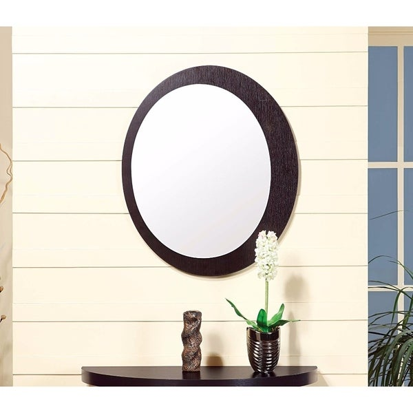 Well Crafted Marvelous Entry Mirror With Oval Frame. - Dark Brown - N/A