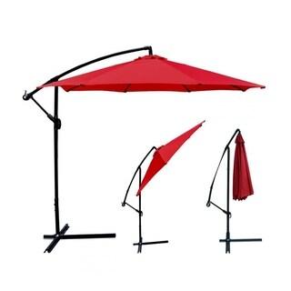 Red Patio Umbrella Offset 10' Hanging Umbrella Outdoor Market Umbrella